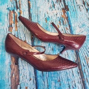 Vintage 90s Red Leather Heels Shoes Crocodile